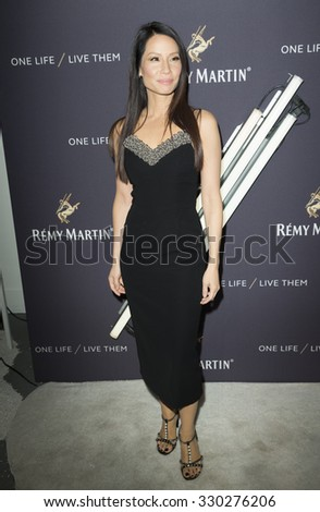 New York, NY - October 20, 2015: Lucy Liu attends the The House Of Remy Martin One Life/Live Them Launch Event With Jeremy Renner at ArtBeam - stock photo