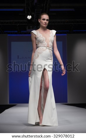 New York, NY - October 11, 2015: Model walks runway for Bridal Couture from Israel by Lian Rokman during New York bridal week at Pier 94 - stock photo