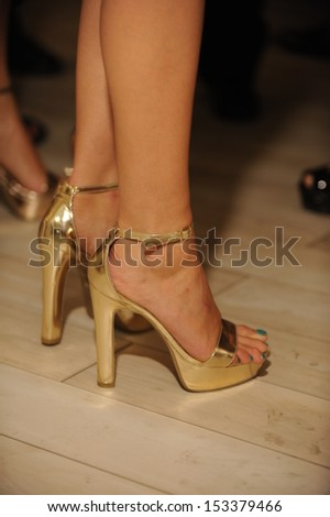 NEW YORK, NY - SEPTEMBER 04: A Model attends the Pamela Gonzales presentation during Mercedes-Benz Fashion Week Spring 2014 on September 4, 2013 in New York City.Closeup photo on shoes and legs