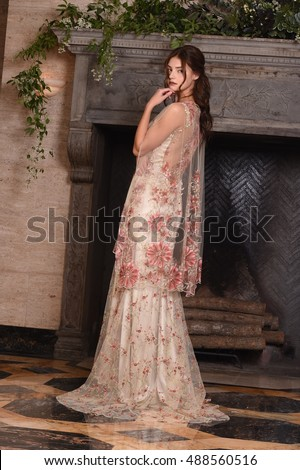 NEW YORK, NY - SEPTEMBER 19: A model posing during the Claire Pettibone Four Seasons Catalog Photo Shoot at The Academy Mansion on September 19, 2016 in New York City.