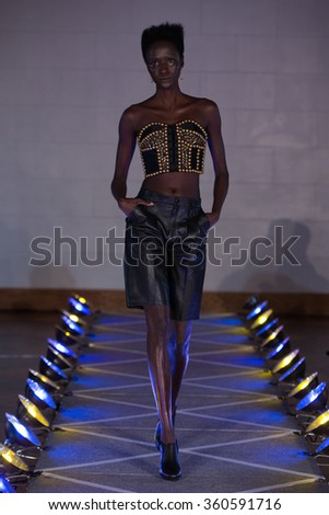 NEW YORK, NY - SEPTEMBER 14, 2015: A model walks runway for Victor de Souza SS 2016 Ready to Wear Collection during New York Fashion Week at 4 West 43rd Street, September 14, 2015 in NYC - stock photo