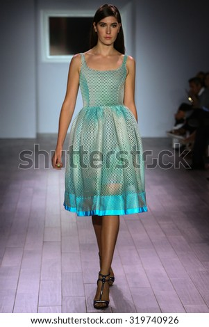 NEW YORK, NY - SEPTEMBER 16: A model walks the runway at Raul Penaranda fashion show during New York Fashion Week Spring 2016 at Style 360 on September 16, 2015 in NYC.