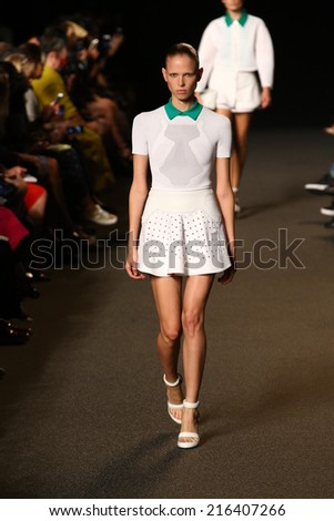 NEW YORK, NY - SEPTEMBER 06: A model walks the runway  at the Alexander Wang fashion show during Mercedes-Benz Fashion Week Spring 2015 on September 6, 2014 in New York City.  - stock photo