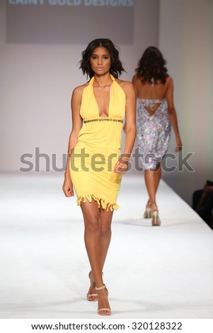 NEW YORK, NY - SEPTEMBER 11: A model walks the runway at the Lainy Gold Swimwear fashion show during Spring 2016 New York Fashion Week at Gotham Hall on September 11, 2015 in New York City.