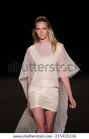 NEW YORK, NY - SEPTEMBER 04: A model walks the runway at the Meskita fashion show during Mercedes-Benz Fashion Week Spring 2015 on September 4, 2014 in New York City.  - stock photo