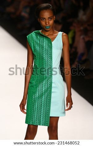 NEW YORK, NY - SEPTEMBER 05: A model walks the runway at the Project Runway (Sandhya Garg) show during MBFW Spring 2015 at Lincoln Center on September 5, 2014 in NYC - stock photo