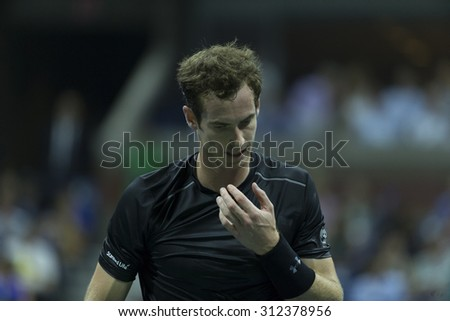 New York, NY - September 1, 2015: Andy Murray of Great Britain reacts during 1st round match against Nick Kyrgios of Australia at US Open Championship