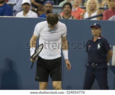 New York, NY - September 7, 2015: Andy Murray of Great Britain reacts during 4th round match against Kevin Andreson of South Africa at US Open Championship - stock photo