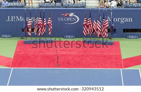 New York, NY - September 13, 2015: Atmosphere at opening ceremony at final of US Open Championship between Roger Federer of Switzerland & Novak Djokovic of Serbia at Ash stadium - stock photo