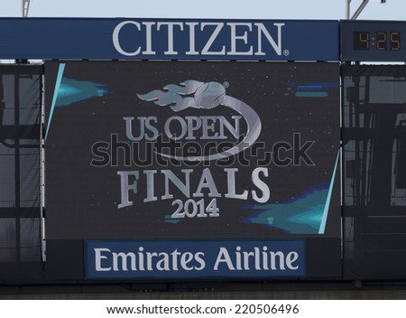 NEW YORK, NY - SEPTEMBER 7, 2014: Atmosphere before final between Caroline Wozniacki of Denmark and Serena Williams of USA at US Open championship in Flushing Meadows USTA Tennis Center - stock photo