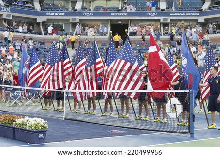 NEW YORK, NY - SEPTEMBER 7, 2014: Atmosphere during trophy presentation after final between Caroline Wozniacki of Denmark and Serena Williams of USA at US Open championship in Flushing Meadows - stock photo