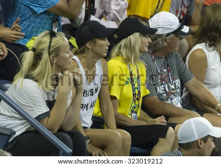 New York, NY - September 3, 2015: Bec Hewitt attends 2nd round match between Lleyton Hewitt of Australia & Bernard Tomic of Australia at US Open championship - stock photo