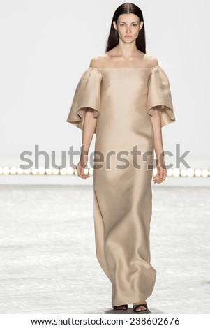 New York, NY - September 5, 2014: Dana Taylor walks the runway at Monique Lhuillier show during Mercedes-Benz Fashion Week Spring 2015 at The Theatre at Lincoln Center - stock photo