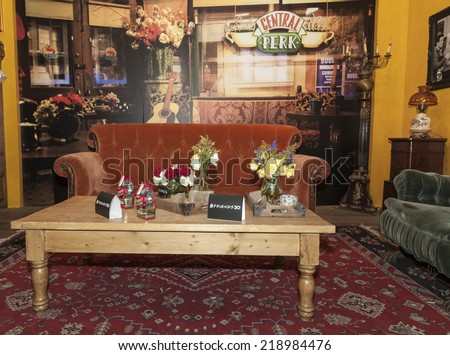 New York, NY - September 21, 2014: Fans Of Warner Bros TV Comedy Friends Celebrate 20th Anniversary Of Series Premiere at The Central Perk cafe on Lafayette street sponsored by Eight O'Clock coffee - stock photo