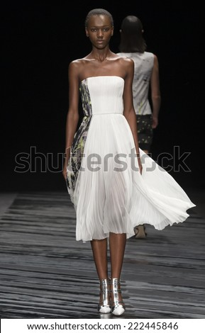 NEW YORK, NY - SEPTEMBER 11, 2014: Herieth Paul walks the runway at J Mendel fashion show during Mercedes-Benz Fashion Week Spring 2015 at The Theatre at Lincoln Center - stock photo