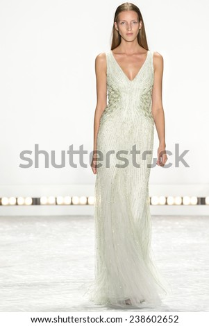 New York, NY - September 5, 2014: Iris Egbers walks the runway at Monique Lhuillier show during Mercedes-Benz Fashion Week Spring 2015 at The Theatre at Lincoln Center - stock photo