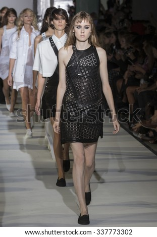 New York, NY - September 15, 2015: Kiki Willems walks the runway at Diesel Black Gold Spring Summer 2016 fashion show during New York Fashion Week at The Corner Building, 23 Wall Street