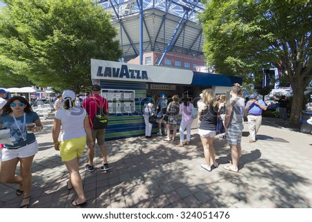 New York, NY - September 5, 2015: Lavazza coffee bar on the ground of USTA Billie Jean King Tennis Center at US Open Championship - stock photo