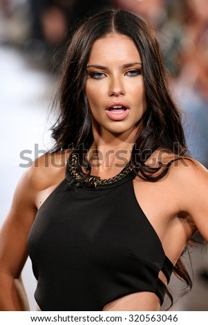 NEW YORK, NY - SEPTEMBER 13: Model Adriana Lima walks Carmen Steffens runway at the FTL Moda SS2016 during NYFW at Vanderbilt Hall at Grand Central Terminal, on September 13, 2015 in NYC. - stock photo