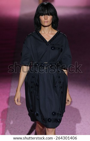 NEW YORK, NY - SEPTEMBER 11: Model Cameron Russell walk the runway at Marc Jacobs during Mercedes-Benz Fashion Week Spring 2015 at Seventh Regiment Armory on September 11, 2014 in NYC. - stock photo