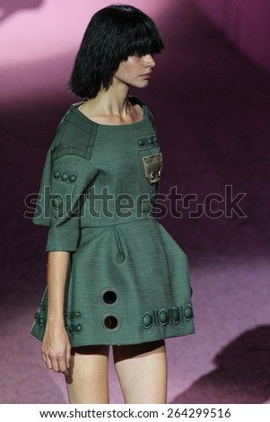 NEW YORK, NY - SEPTEMBER 11: Model Caroline Loosen walk the runway at Marc Jacobs during Mercedes-Benz Fashion Week Spring 2015 at Seventh Regiment Armory on September 11, 2014 in NYC. - stock photo