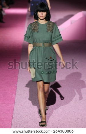 NEW YORK, NY - SEPTEMBER 11: Model Catherine McNeil walk the runway at Marc Jacobs during Mercedes-Benz Fashion Week Spring 2015 at Seventh Regiment Armory on September 11, 2014 in NYC. - stock photo