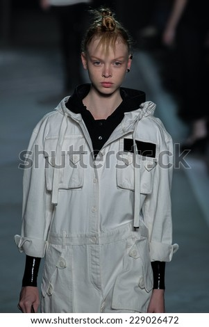 NEW YORK, NY - SEPTEMBER 09: Model Dani Witt walks the runway at the Marc By Marc Jacobs fashion show during Mercedes-Benz Fashion Week Spring 2015 at Pier 94 on September 9, 2014 in NYC. - stock photo
