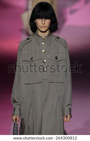 NEW YORK, NY - SEPTEMBER 11: Model Julia Bergshoeff walk the runway at Marc Jacobs during Mercedes-Benz Fashion Week Spring 2015 at Seventh Regiment Armory on September 11, 2014 in NYC. - stock photo