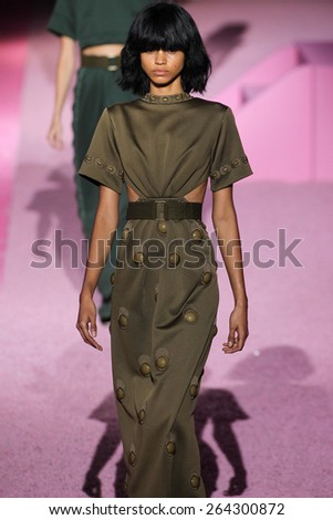 NEW YORK, NY - SEPTEMBER 11: Model Mariana Santana walk the runway at Marc Jacobs during Mercedes-Benz Fashion Week Spring 2015 at Seventh Regiment Armory on September 11, 2014 in NYC. - stock photo