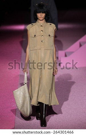 NEW YORK, NY - SEPTEMBER 11: Model Natali Eydelman walk the runway at Marc Jacobs during Mercedes-Benz Fashion Week Spring 2015 at Seventh Regiment Armory on September 11, 2014 in NYC. - stock photo