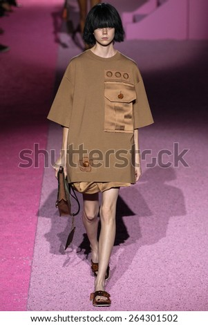 NEW YORK, NY - SEPTEMBER 11: Model Natalie Westling walk the runway at Marc Jacobs during Mercedes-Benz Fashion Week Spring 2015 at Seventh Regiment Armory on September 11, 2014 in NYC. - stock photo