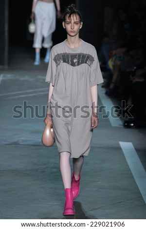 NEW YORK, NY - SEPTEMBER 09: Model Waleska Gorczevski walks the runway at the Marc By Marc Jacobs fashion show during Mercedes-Benz Fashion Week Spring 2015 at Pier 94 on September 9, 2014 in NYC. - stock photo