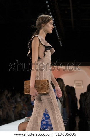 New York, NY - September 12, 2015: Model walks runway during Spring/Summer 2016 New York fashion week for Herve Leger by Max Azria at the Arc Moynihan Station - stock photo