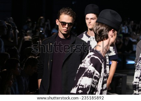 NEW YORK, NY - SEPTEMBER 06: models walk runway at the Robert Geller fashion show during Mercedes-Benz Fashion Week Spring 2015 at Pier 59 Stage C on September 6, 2014 in NYC. - stock photo