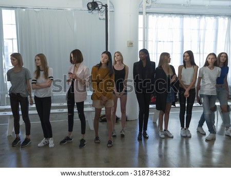 New York, NY - September 14, 2015: Models walk runway during rehearsal for Morgane Le Fay during New York Spring/Summer 2016 fashion week at Hudson Studios on 26th stree - stock photo