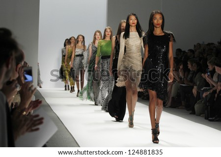 NEW YORK, NY - SEPTEMBER 10: Models walk the runway at the Carlos Miele  Spring Summer 2013 fashion show during Mercedes-Benz Fashion Week on September 10, 2012 in New York City, USA