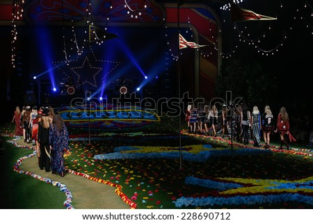 NEW YORK, NY - SEPTEMBER 08: Models walk the runway at Tommy Hilfiger Women's fashion show during Mercedes-Benz Fashion Week Spring 2015 at Park Avenue Armory on September 8, 2014 in New York City. - stock photo