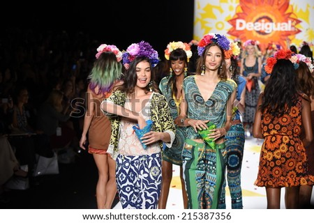 NEW YORK, NY - SEPTEMBER 04: Models walk the runway finale at Desigual during Mercedes-Benz Fashion Week Spring 2015 on September 4, 2014 in New York City.