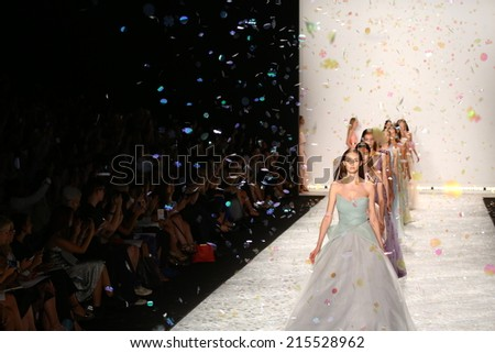 NEW YORK, NY - SEPTEMBER 05: Models walk the runway finale at Monique Lhuillier during Mercedes-Benz Fashion Week Spring 2015 on September 5, 2014 in New York City.  - stock photo