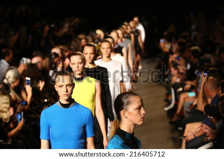 NEW YORK, NY - SEPTEMBER 06: Models walk the runway  finale at the Alexander Wang fashion show during Mercedes-Benz Fashion Week Spring 2015 on September 6, 2014 in New York City.