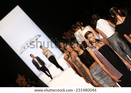 NEW YORK, NY - SEPTEMBER 05: Models walk the runway finale at the Project Runway (Alexander Knox) show during MBFW Spring 2015 at Lincoln Center on September 5, 2014 in NYC - stock photo