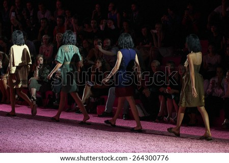 NEW YORK, NY - SEPTEMBER 11: Models walks the runway at Marc Jacobs during Mercedes-Benz Fashion Week Spring 2015 at Seventh Regiment Armory on September 11, 2014 in NYC. - stock photo