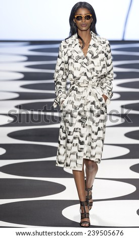 New York, NY - September 5, 2014: Senait Gidey walks the runway at Nicole Miller show during Mercedes-Benz Fashion Week Spring 2015 at The Salon at Lincoln Center - stock photo