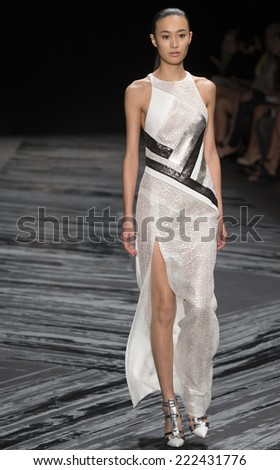 NEW YORK, NY - SEPTEMBER 11, 2014: Shu Pei Qin walks the runway at J Mendel fashion show during Mercedes-Benz Fashion Week Spring 2015 at The Theatre at Lincoln Center - stock photo