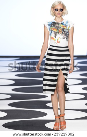 New York, NY - September 5, 2014: Valeria Dmitrienko walks the runway at Nicole Miller show during Mercedes-Benz Fashion Week Spring 2015 at The Salon at Lincoln Center - stock photo