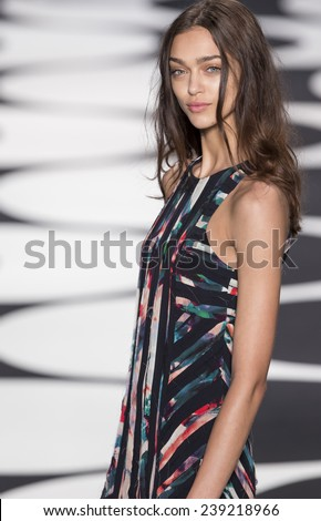 New York, NY - September 5, 2014: Zhenya Katava walks the runway at Nicole Miller show during Mercedes-Benz Fashion Week Spring 2015 at The Salon at Lincoln Center - stock photo
