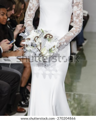 New York, NY, USA - April 16, 2015: A model walks runway for Theia Spring 2016 Bridal Collection at Theia Showroom during New York Bridal week, Manhattan - stock photo