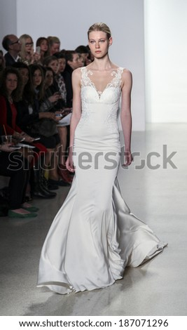 New York, NY, USA - April12, 2014: A model walks the runway for the Kenneth Pool collection by Amsale during New York International Bridal Week at the EZ-Studios, Manhattan