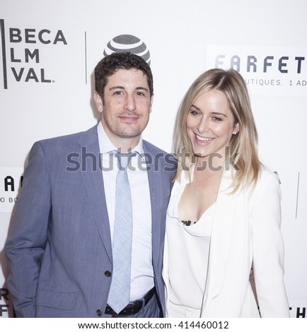 New York, NY, USA - April 13, 2016: Actors Jason Biggs and Jenny Mollen attend the 2016 TFF opening night world premiere of 'The First Monday In May' at John Zuccotti Theater at BMCC Tribeca PAC - stock photo