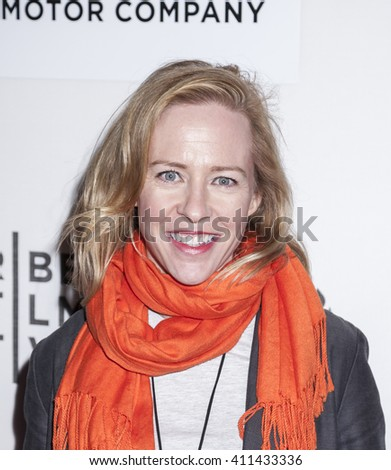 New York, NY, USA - April 20, 2016: Actress Amy Hargreaves attends the 'A Hologram For The King' premiere during the 2016 Tribeca Film Festival at the John Zuccotti Theater at BMCC Tribeca PAC - stock photo